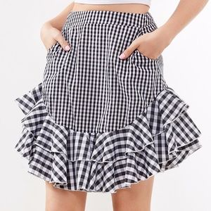 Dresses & Skirts - Layered Frill Trim Mixed Gingham Skirt