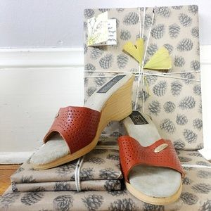 Vintage 70s Perforated Leather Wedges