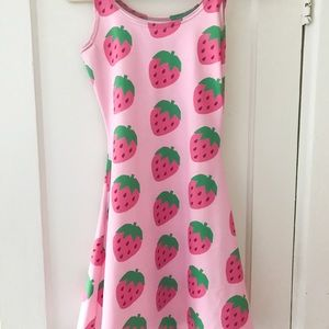 Dresses & Skirts - Cute kawaii pink strawberry fairy Kei flare dress