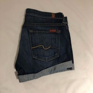 7 For All Mankind Cuffed Denim Short Shorts