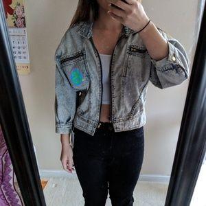 Stussy acid wash jean moto jacket