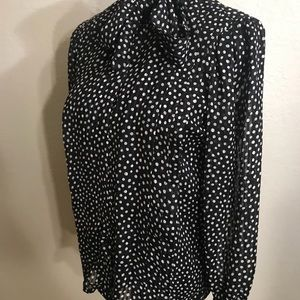 Vintage Tops - Vintage pussy bow polka dot top blouse