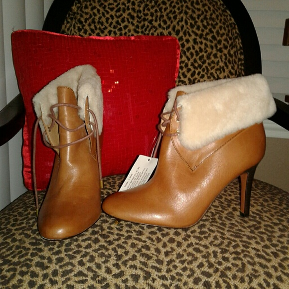 c1cc369f6930 COACH Malia Brown Leather Ankle Boots Sheep Fur