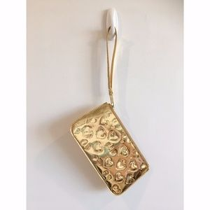 Marc Jacobs Gold Heart Embossed Wristlet
