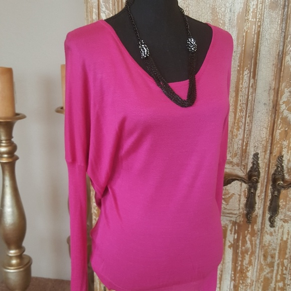33% off Say What? Sweaters - Say What Hot Pink Open Back Sweater ...