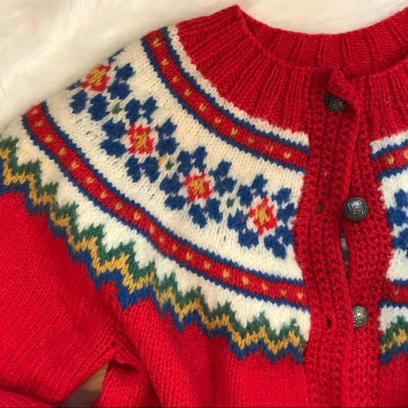 Vintage - Vintage Hand Knit Red Fair Isle Sweater Cardigan from ...