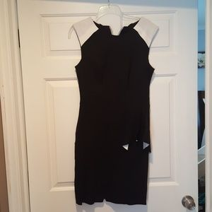 NWT Black dress with white ruffle detail