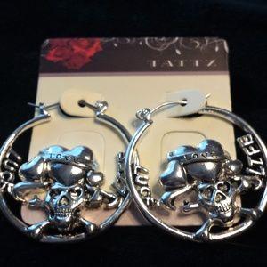 Jewelry - Silver Tone Luck Love Life Hoop Earrings