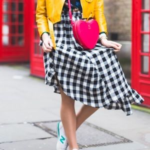 ASOS gingham midi skirt fall photo shoot