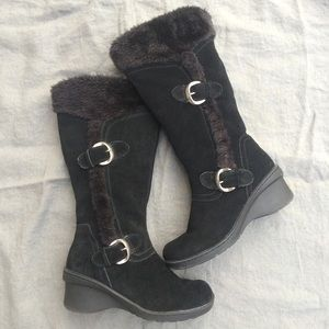 REAL SUEDE Heavy Winter Boots Wedge Faux Fur Lined