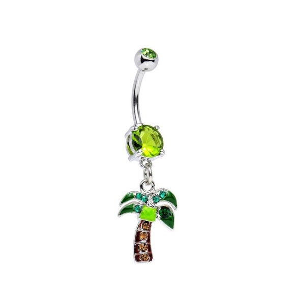 Body Candy Palm Tree Charm Belly Button Ring Nwt