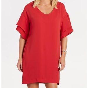 NWOT Red ruffle sleeve dress