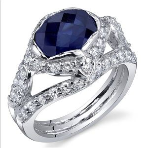 Jewelry - 2.50 Carats Created Blue Sapphire Ring