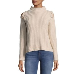 [John+Jen] Shoulder LaceUp Knit Highneck Sweater