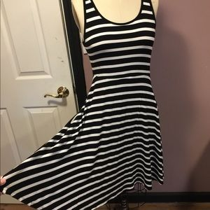 Black & white striped tank skater dress