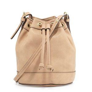 Sierra Drawstring Bucket Bag, Buff