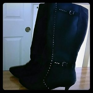Black Suede  Studded Boots