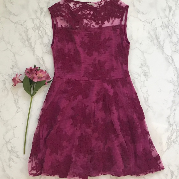 d3560eb017 Charlotte Russe Dresses & Skirts - Charlotte Russe floral lace skater dress  Fuschia L