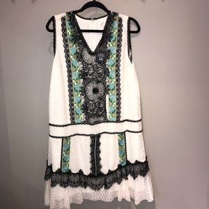 NWT! Anna Sui Ivory Multi colored dress - gorgeous