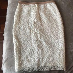 BCBGMAXAZRIA Bess Lace White Skirt Size S