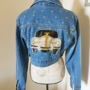 Vintage Cropped and Beaded Denim Jacket