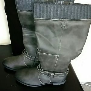 Charcoal Grey Distressed  Riding  Boot