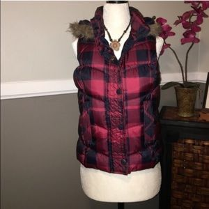 Jackets & Blazers - Red Plaid puffer vest