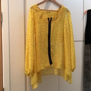 Simply Be yellow chiffon sheer top with zipper