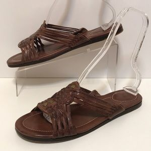 FRYE Brown Jacey Huarache Slides Sandals 11M