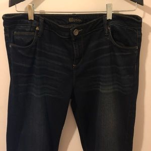 High rise, mile long leg jeans in dark wash