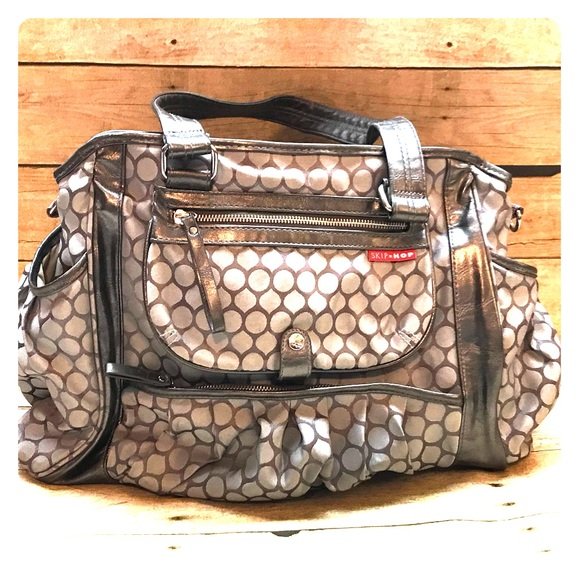 7887c3fcff77 Skip Hop Bags | Studio Diaper Bag In Pewter Dot | Poshmark