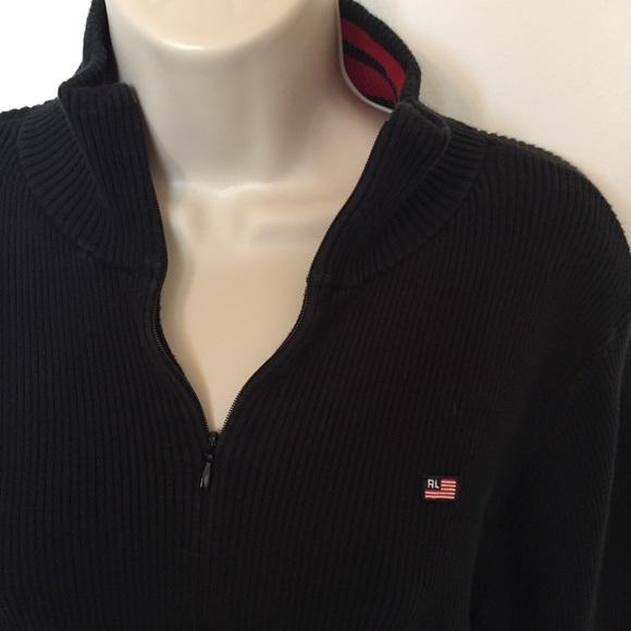 6ff702cb3a502 Polo Ralph Lauren black sweater zip turtleneck XL.  M 5a22e8f27fab3a6bb103956a