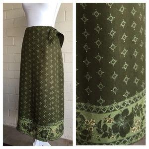 Hawaiian Hibiscus Print Wrap Around Skirt