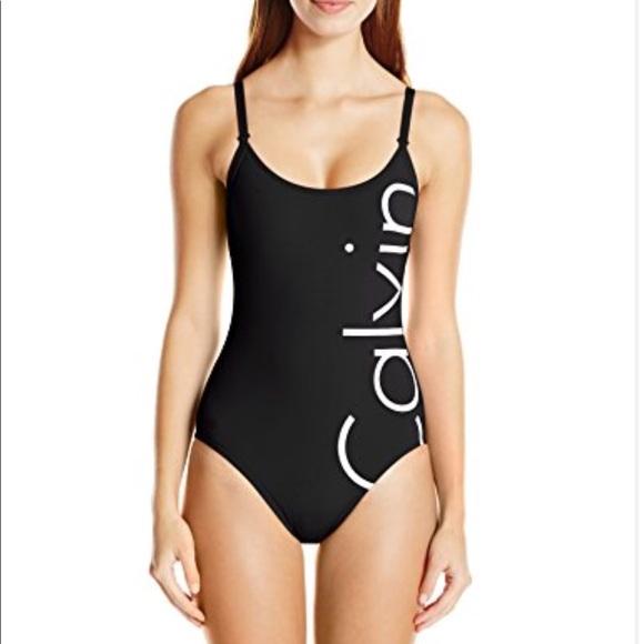 d99adaa2025 Calvin Klein Other - Calvin Klein Logo One Piece Swimsuit Black White 4
