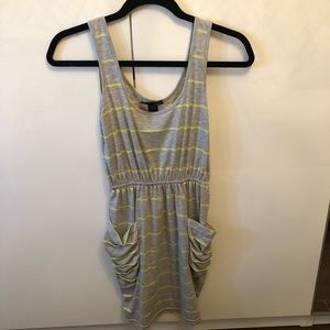 Aqua Striped Dress with Pockets