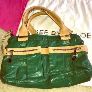 See by Chloe green patent and tan purse