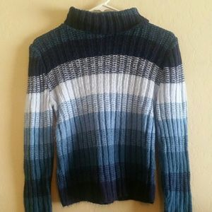 Womans small sweater cowl neck blues Guc