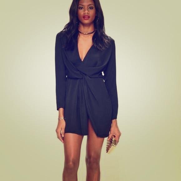 e77ffa2ea2216 Missguided Sexy Black Satin Wrap Mini Dress Size 2.  M_5a22ebcebcd4a731b7039a54