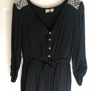 Roxy Black Embroidered Romper Size XS