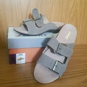 Slip on taupe sandals