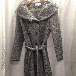Calvin Klein wool blend wrap twid coat sz 8