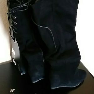 Suede Knee High Wedge Boots