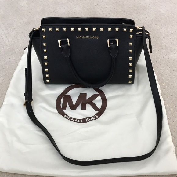 31f02cd7a86f3b Michael Kors Selma Medium Studded Leather Satchel.  M_5a22f7ee4225beeda003d7e8