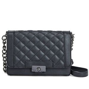 Black Quilted Faux Leather Bag