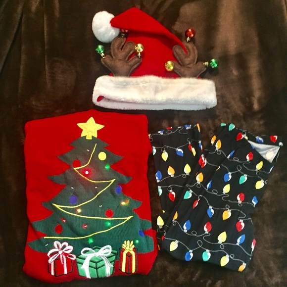 0a96e23db6 FourWildHorses Sweaters - Outfit Ugly Christmas Sweater leggings light up
