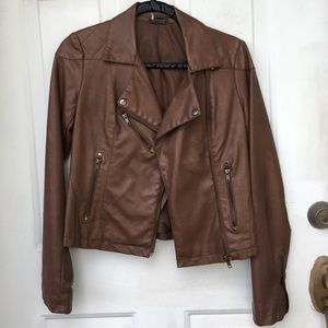 Sparkle & Fade Brown Faux Leather Jacket