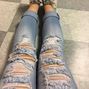 Light Blue Light Washed Ripped Skinny Jeans