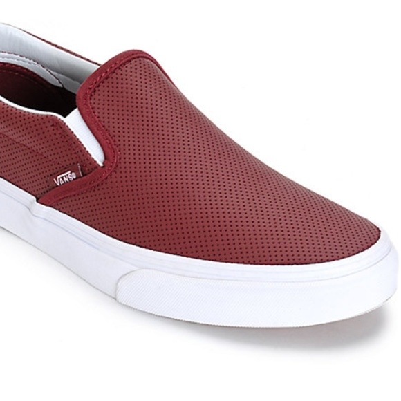 Vans Classic Perforated Port Wine Leather Slip On.  M 5a22f8e92ba50a63f103dc1c 540c54d93