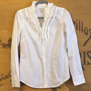 J. Crew Ruffled White Button Up Shirt