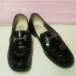 Joan and David Black Patent Leather Loafers EUC